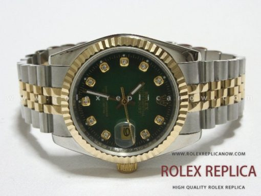 Rolex Date Just Replica Green Dial Steel and Gold (13)