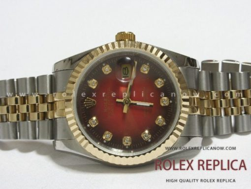 Rolex Date Just Replica Red Dial Steel and Gold (1)