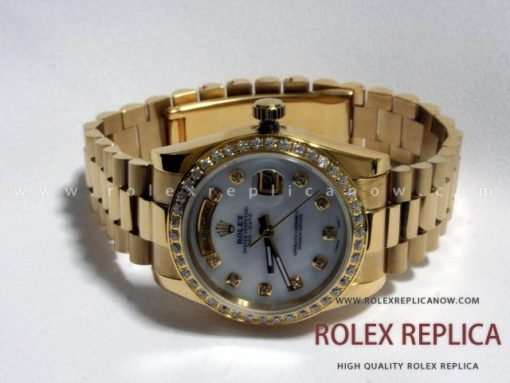 Rolex Day Date Replica White Dial Bezel with Diamonds (1)