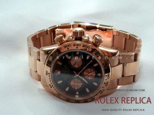 Rolex Daytona Replica Black Dial Everose A7750 Swiss Eta (1)