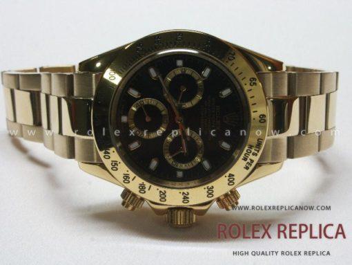 Rolex Daytona Replica Black Dial Yellow Gold (1)