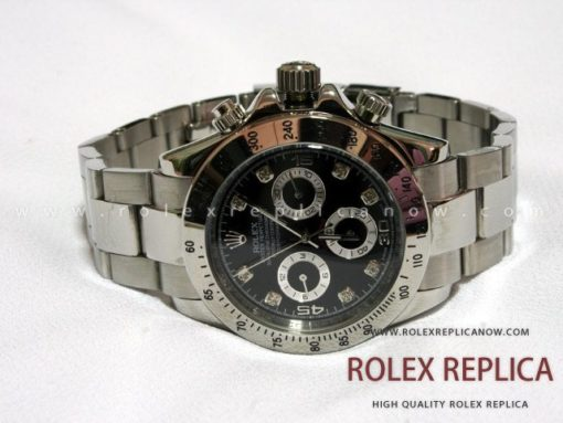 Rolex Daytona Replica Black Dial with Diamonds (1)