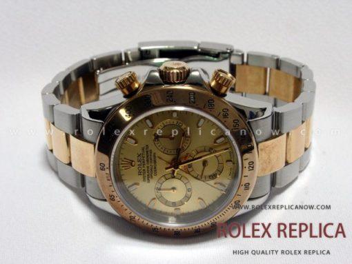 Rolex Daytona Replica Gold Dial Steel and Gold A7750 Swiss Eta