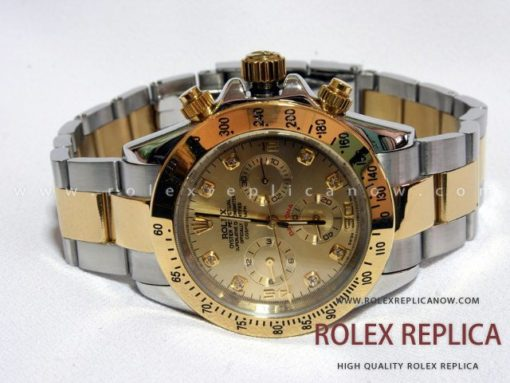 Rolex Daytona Replica Steel and Gold with Diamonds (1)