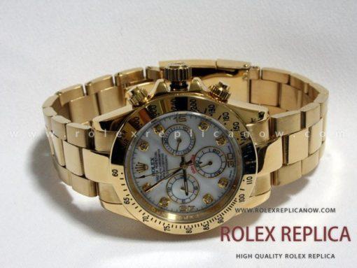 Rolex Daytona Replica White Dial Gold with Diamonds (1)