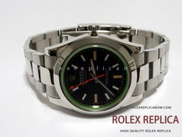 Rolex Milgauss Replica Black Dial Green Glass