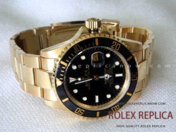 Rolex Submariner Date Replica Black Dial Gold