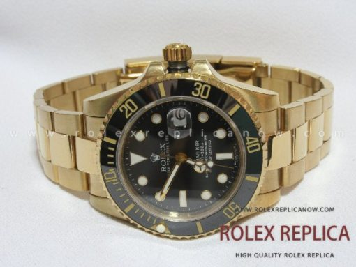 Rolex Submariner Date Replica Black Dial Gold 2836-2 Swiss Eta (1)