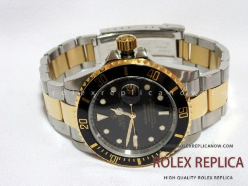 Rolex Submariner Date Replica Black Dial Steel and Gold (1)